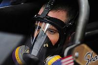 Feb. 12, 2012; Pomona, CA, USA; NHRA top fuel dragster driver Shawn Langdon during the Winternationals at Auto Club Raceway at Pomona. Mandatory Credit: Mark J. Rebilas-