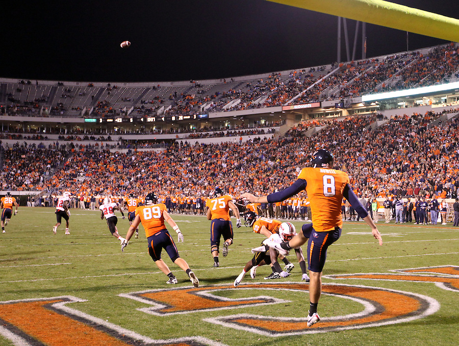 Nov 13, 2010; Charlottesville, VA, USA; Virginia Cavaliers punter Jimmy Howell (8) during the game against the Maryland Terrapins at Scott Stadium. Maryland won 42-23.  Mandatory Credit: Andrew Shurtleff
