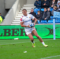 3rd October 2021; AJ Bell stadium, Eccles, Greater Manchester, England: Gallagher Premiership Rugby, Sale v Exeter ; Henry Slade of Exeter scoring in the 40th minute to make it 10-8 to Sale