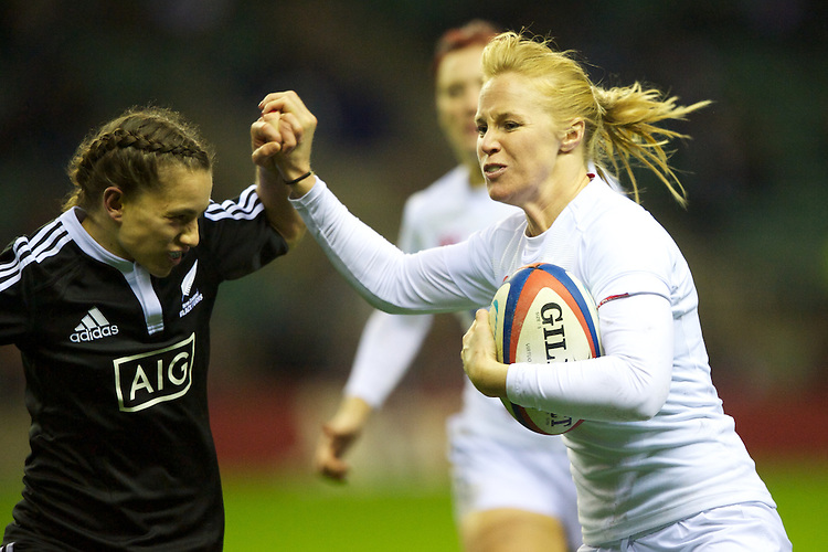 Michaela Staniford of England Women (right) in action against Selica Winiata of the Black Ferns during the test match between England Women and the Black Ferns at Twickenham on Saturday 01 December 2012 (Photo by Rob Munro)