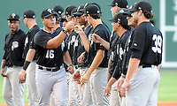 Manager Pedro Lopez (16) of the Savannah Sand Gnats is introduced in Game 1 of the South Atlantic League Southern Division Championship against the Greenville Drive on Sept. 8, 2010, at Fluor Field at the West End in Greenville, S.C. Photo by: Tom Priddy/Four Seam Images