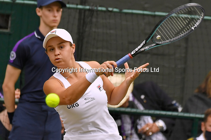 London Wimbledon Championships Day 12 10/07/2021<br /> Ashleigh Barty (AUS)in Ladies Final against Karolina Pliskova (CZE)<br /> Roger Parker International Sports Fotos Ltd