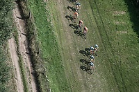 "Team Wanty Group Gobert takes the lead over a grass covered off-road section. <br /> <br /> Antwerp Port Epic 2018 (formerly ""Schaal Sels"")<br /> One Day Race: Antwerp > Antwerp (207km of which 32km are cobbles & 30km is gravel/off-road!)"