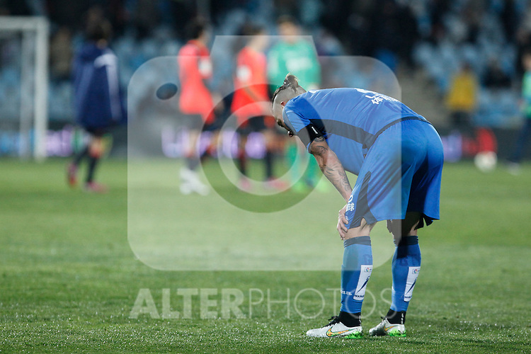 Getafe´s Alexis after losing the 2014-15 La Liga match at Alfonso Perez Coliseum stadium in Madrid, Spain. March 16, 2015. (ALTERPHOTOS/Victor Blanco)