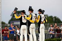 #3: Corvette Racing Corvette C8.R, GTLM: Antonio García, Jordan Taylor, #4: Corvette Racing Corvette C8.R, GTLM: Tommy Milner, Nick Tandy celebrate in victory lane