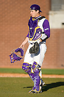 Jared Avchen #22 of the East Carolina Pirates on defense versus the Virginia Cavaliers at Clark-LeClair Stadium on February 19, 2010 in Greenville, North Carolina.   Photo by Brian Westerholt / Four Seam Images