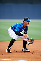 Biloxi Shuckers third baseman Angel Ortega (2) during a game against the Jackson Generals on April 23, 2017 at MGM Park in Biloxi, Mississippi.  Biloxi defeated Jackson 3-2.  (Mike Janes/Four Seam Images)