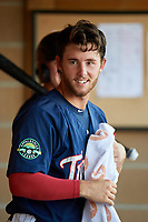 Elizabethton Twins catcher Andrew Cosgrove (5) in the dugout during a game against the Bristol Pirates on July 28, 2018 at Joe O'Brien Field in Elizabethton, Tennessee.  Elizabethton defeated Bristol 5-0.  (Mike Janes/Four Seam Images)