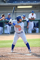 Argenis Raga (22) of the Stockton Ports bats against the Rancho Cucamonga Quakes at Loan Mart Field on July 16, 2017 in Rancho Cucamonga, California. Rancho Cucamonga defeated Stockton 9-1. (Larry Goren/Four Seam Images)