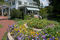 House, nasturtiums, petunias, blue skies, clouds, sunny, bird ornament statutes, trellis