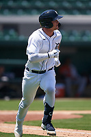 Detroit Tigers Dillon Dingler (9) runs to first base during a Minor League Spring Training game against the Baltimore Orioles on April 14, 2021 at Joker Marchant Stadium in Lakeland, Florida.  (Mike Janes/Four Seam Images)