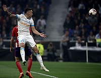 Olympique de Marseille's Lucas Ocampos heads the ball during the UEFA Europa League final football match between Olympique de Marseille and Club Atletico de Madrid at the Groupama Stadium in Decines-Charpieu, near Lyon, France, May 16, 2018.<br /> UPDATE IMAGES PRESS/Isabella Bonotto
