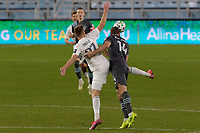 ST PAUL, MN - NOVEMBER 4: Brent Kallman #14 of Minnesota United FC with the header during a game between Chicago Fire and Minnesota United FC at Allianz Field on November 4, 2020 in St Paul, Minnesota.