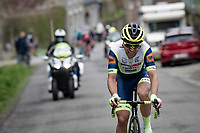 Maurits Lammertink (NED/Intermarché - Wanty - Gobert) is the last survivor of the early breakaway<br /> <br /> 85th La Flèche Wallonne 2021 (1.UWT)<br /> 1 day race from Charleroi to the Mur de Huy (BEL): 194km<br /> <br /> ©kramon