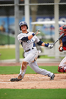 GCL Rays third baseman Michael Brosseau (6) fouls a ball off himself during the first game of a doubleheader against the GCL Red Sox on August 9, 2016 at JetBlue Park in Fort Myers, Florida.  GCL Rays defeated GCL Red Sox 5-4.  (Mike Janes/Four Seam Images)