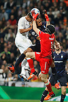 Real Madrid´s Danilo and Malmo´s Felipe Carvalho and Wiland during 2015/16 Champions League soccer match between Real Madrid and Malmo at Santiago Bernabeu stadium in Madrid, Spain. December 08, 2014. (ALTERPHOTOS/Victor Blanco)