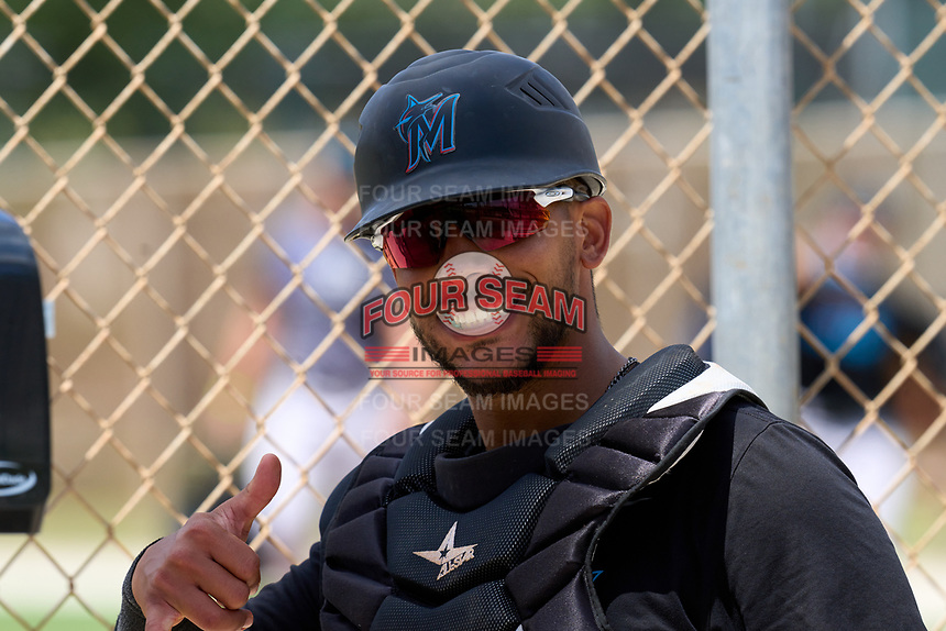 Miami Marlins catcher David Martinez (51) during a Minor League Spring Training camp day on April 28, 2021 at Roger Dean Chevrolet Stadium Complex in Jupiter, Fla.  (Mike Janes/Four Seam Images)