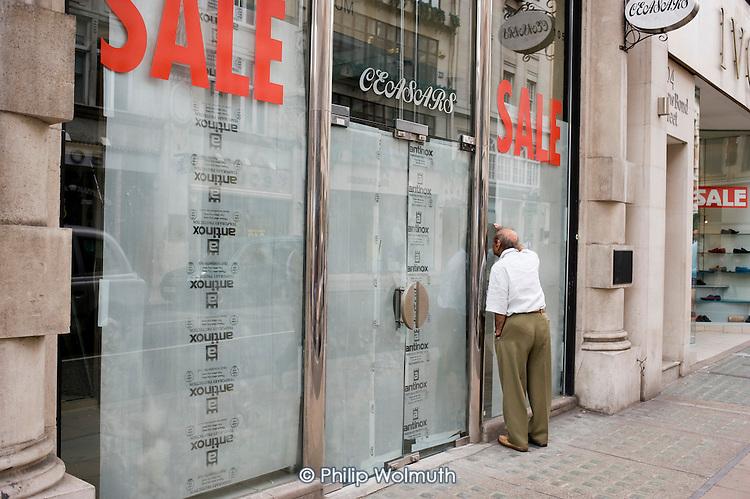 Empty shop, New Bond Street, London.