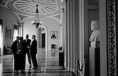 Washington DC, .District of Columbia.USA.February 5, 2007..Senators in the hallways of Congress before a vote that rejected the debate on an Iraq resolution against President Bush's build up for the war in the Capital building.....
