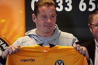 "101016 - Graham Westley Press Conference - Newport International Sports Village, Newport, Wales<br /> Graham Westley holds the home shirt up in front of the press during his first Newport County AFC press conference.<br /> Re: Newport County manager Graham Westley has defended his conduct after a row that saw club secretary Graham Bean leave after just three weeks.<br /> He left Newport as he ""cannot work"" with Westley.<br /> ""Any business that goes on between me and the football club is business between me and them,"" Westley said.<br /> Bean says he quit the club because of the rift with Westley, who was appointed in October, but the manager says Bean was dismissed.<br /> The club confirmed Bean's departure, but declined to comment further."