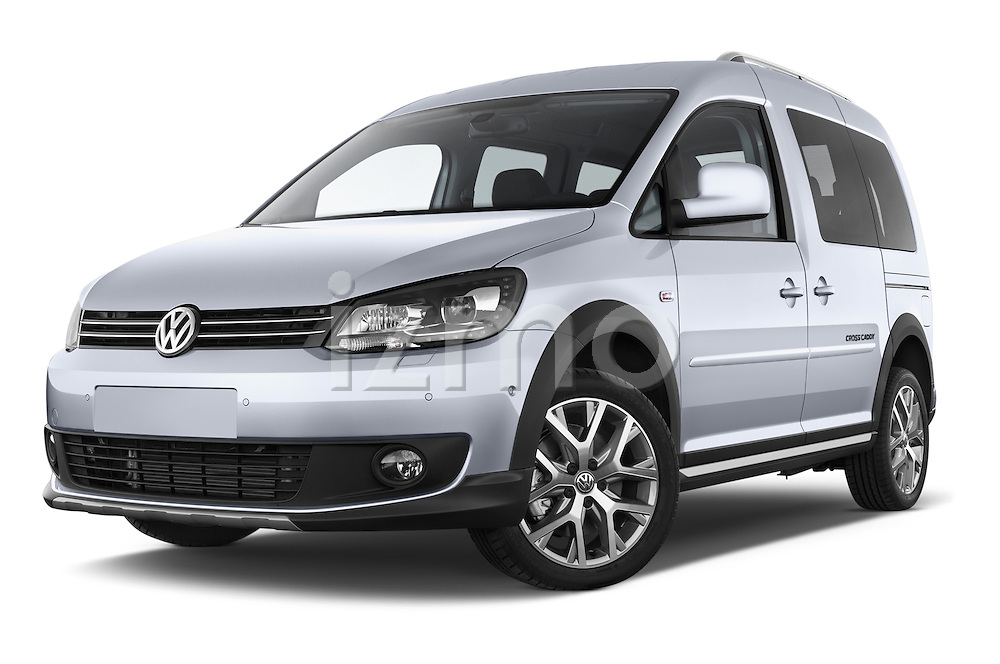 Stock pictures of low aggressive front three quarter view of a 2013 Volkswagen Caddy Cross 5 Door Mini MPV 2WD Low Aggressive