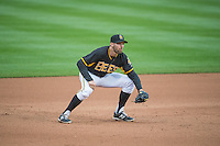Kyle Kubitza (10) of the Salt Lake Bees on defense against the Tacoma Rainiers in Pacific Coast League action at Smith's Ballpark on May 7, 2015 in Salt Lake City, Utah.  (Stephen Smith/Four Seam Images)