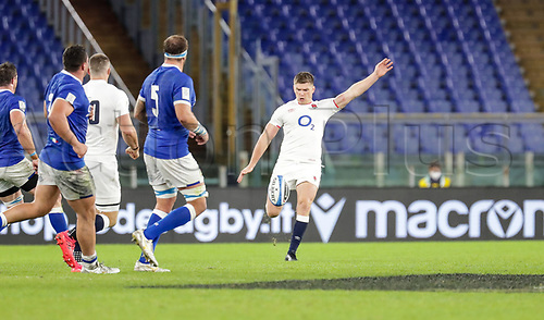 31st October 2020, Olimpico Stadium, Rome, Italy; Six Nations International Rugby Union, Italy versus England;  Owen Farrell (England) kicks a conversion