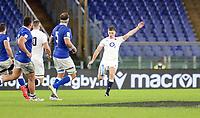 31st October 2020, Olimpico Stadium, Rome, Italy; Six Nations International Rugby Union, Italy versus England;  Owen Farrell (England) kicks a conversion