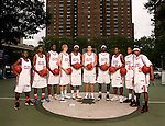 """""""The Goat"""" squad on September 1, 2006 at Rucker Park in New York, New York.  Pictured left to right are Erving Walker, Dexter Strickland,  Rick Jackson, Kyle Singler, Donte Greene, Kevin Love, J.J. Hickson, Corey Stokes, Chris Allen and Brandon Jennings.  The players were in town for the Elite 24 Hoops Classic, which brought together the top 24 high school basketball players in the country regardless of class or sneaker affiliation."""