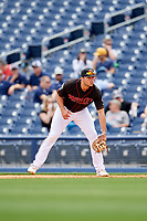 Nashville Sounds first baseman Matt Olson (21) during a game against the New Orleans Baby Cakes on May 1, 2017 at First Tennessee Park in Nashville, Tennessee.  Nashville defeated New Orleans 6-4.  (Mike Janes/Four Seam Images)