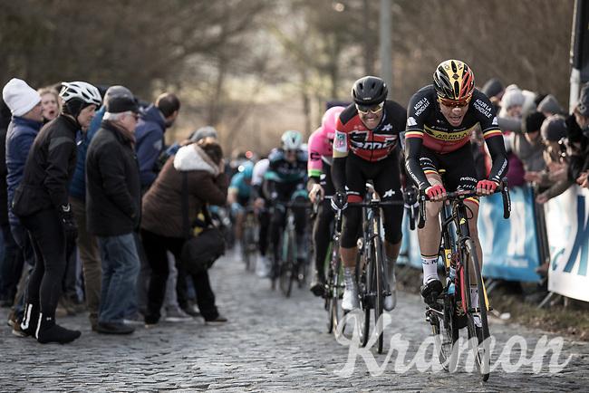 Belgian Champion Oliver Naesen (BEL/AG2R-La Mondiale) cheered by the fans leading the front group up the Bosberg.  <br /> <br /> <br /> 73th Omloop Het Nieuwsblad 2018<br /> Gent-Meerbeke (BEL) - 196km