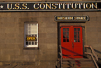AJ3516, Boston, U.S.S. Constitution, Massachusetts, Charlestown Navy Yard, Red door at the entrance of the U.S.S. Constitution Museum Store in Boston in the state of Massachusetts.