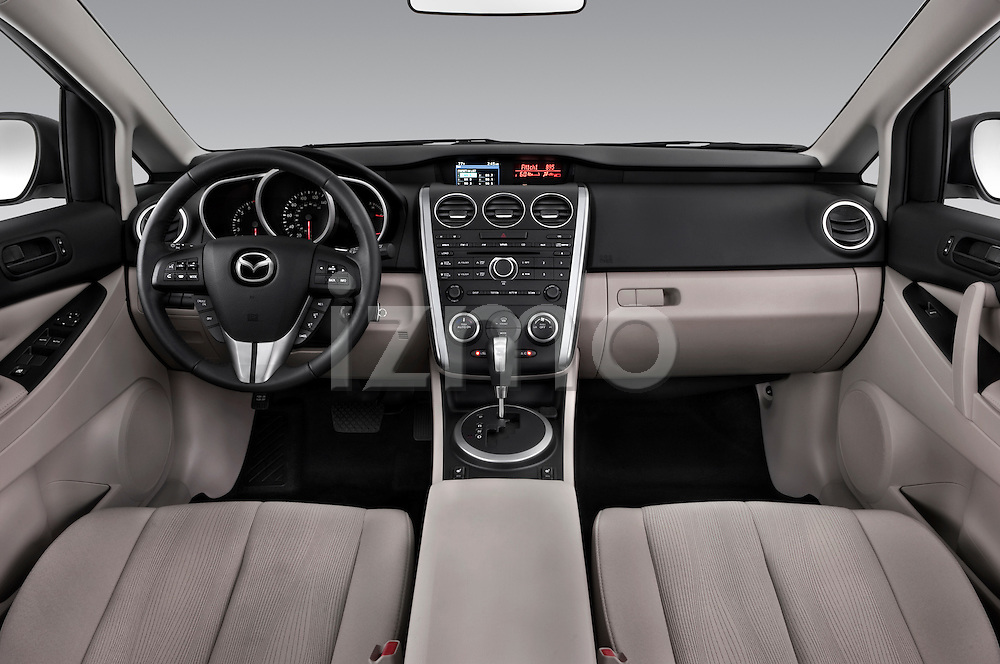 Straight dashboard view of a 2010 Mazda CX7i Sport.