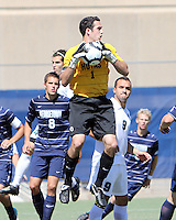 Matthew Brutto #1 of Georgetown University saves from Rubin Bega #9 of Michigan State during an NCAA match at North Kehoe Field, Georgetown University on September 5 2010 in Washington D.C. Georgetown won 4-0.