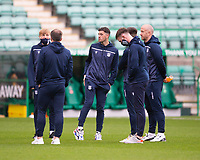15th November 2020; Easter Road, Edinburgh, Scotland; Scottish League Cup Football, Hibernian versus Dundee FC; Dundee players inspect the pitch before the match
