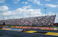Jul 18, 2020; Clermont, Indiana, USA; NHRA fans in the grandstands during qualifying for the Summernationals at Lucas Oil Raceway. Mandatory Credit: Mark J. Rebilas-USA TODAY Sports