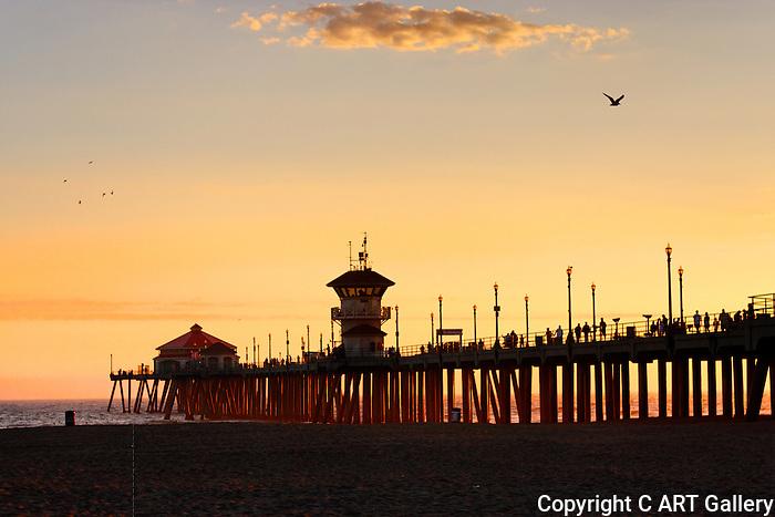 Pier at sunset, Huntington Beach, CA.