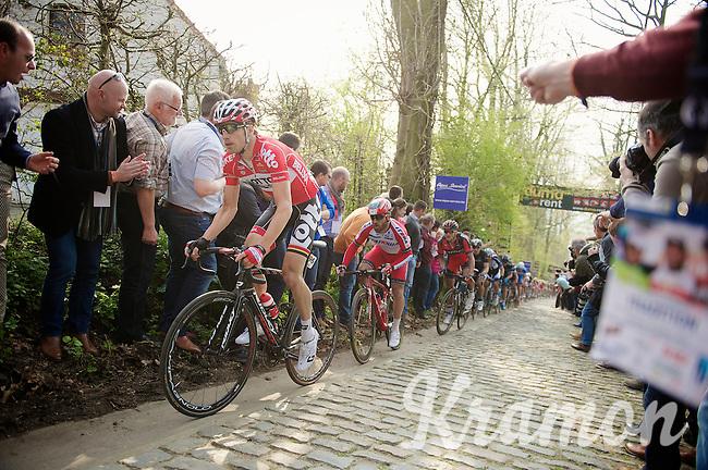 Jurgen Roelandts (BEL/Lotto-Belisol) up the Taaienberg with Luca Paolini (ITA/Katusha) right behind him<br /> <br /> 57th E3 Harelbeke 2014