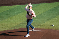 Former Tennessee Volunteers quarterback Peyton Manning throws out the first pitch prior to the game against the Arkansas Razorbacks on May 14, 2021, on Robert M. Lindsay Field at Lindsey Nelson Stadium in Knoxville, Tennessee. (Danny Parker/Four Seam Images)