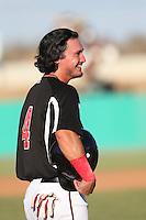 Alex Burg (4) of the High Desert Mavericks during a game against the San Jose Giants at Mavericks Stadium on June 14, 2015 in Adelanto, California. High Desert defeated San Jose, 7-5. (Larry Goren/Four Seam Images)