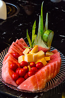 Guizhou, China.  Dessert of Watermelon, Melon, and Red Fruits.