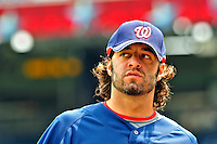 24 May 2009: Washington Nationals' pitcher Joe Beimel returns to the dugout prior to a game against the Baltimore Orioles at Nationals Park in Washington, DC. The Nationals rallied to defeat the Orioles 8-5 and salvage one win of their interleague series. Mandatory Credit: Ed Wolfstein Photo