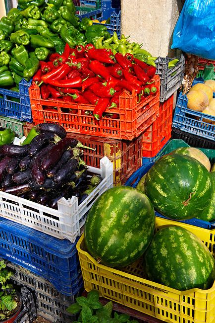 Fruit outside a vegetable shop, Corfu, Greek Ionian Islands