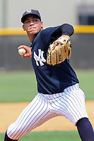 Joel Marte (38)  Pitcher for the GCL Yankees delivers a pitch during a game on June 21, 2010 against the GCL Pirates at the Yankees Training Complex in Tampa, The GCL Yankees are the Gulf Coast Rookie League affiliate of the New York Yankees. Photo By Mark LoMoglio/Four Seam Images