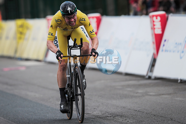 Race leader Yellow Jersey Maximilian Schachmann (GER) Bora-Hansgrohe approaches the finish line during Stage 4 of the 78th edition of Paris-Nice 2020, and individual time trial running 15.1km around Saint-Amand-Montrond, France. 11th March 2020.<br /> Picture: ASO/Fabien Boukla | Cyclefile<br /> All photos usage must carry mandatory copyright credit (© Cyclefile | ASO/Fabien Boukla)