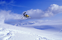 Snowmobile riding, Lost Lake, Chugach National Forest, Alaska.  MR/PR