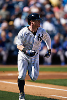 New York Yankees Clint Frazier (77) runs to first base during a Spring Training game against the Toronto Blue Jays on February 22, 2020 at the George M. Steinbrenner Field in Tampa, Florida.  (Mike Janes/Four Seam Images)