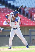 Jonathan Garcia #48 of the Rancho Cucamonga Quakes bats against the High Desert Mavericks at Stater Bros. Stadium on May 27, 2014 in Adelanto, California. High Desert defeated Rancho Cucamonga, 5-4. (Larry Goren/Four Seam Images)