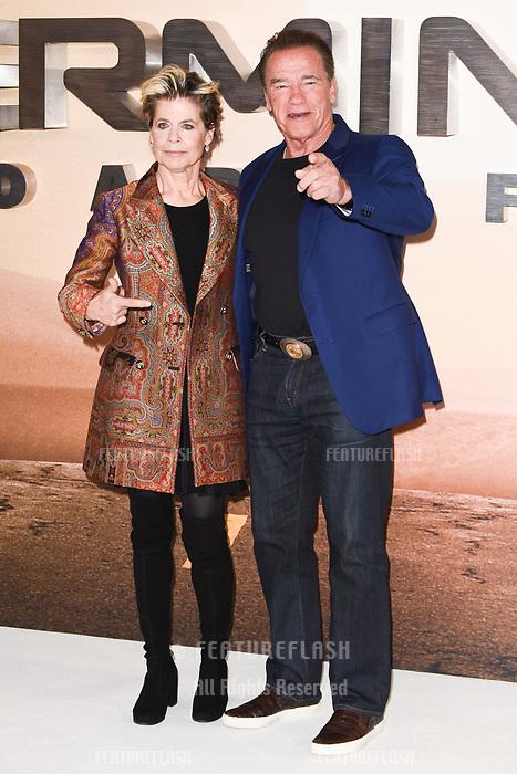 "LONDON, UK. October 17, 2019: Linda Hamilton and Arnold Schwarzenegger at the ""Terminator: Dark Fate"" photocall, London.<br /> Picture: Steve Vas/Featureflash"