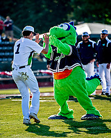 29 May 2021: Vermont Lake Monsters Mascot Champ greets outfielder Andrew Bergeron, from Ponte Verda Beach, FL, prior to a game against the Norwich Sea Unicorns at Centennial Field in Burlington, Vermont. The Lake Monsters defeated the Sea Unicorns 6-3 in their FCBL Home Opener, the first home game played at Centennial Field post-Covid-19 pandemic. Mandatory Credit: Ed Wolfstein Photo *** RAW (NEF) Image File Available ***